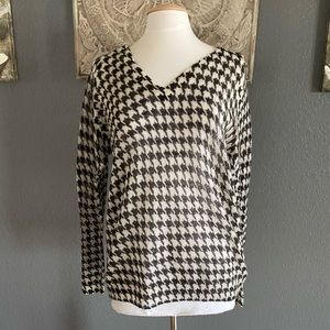 NWT MICHAEL Michael Kors Houndstooth Pullover L
